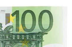Hundra euro som bakgrund Makro Arkivfoto