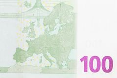 Hundra euro som bakgrund Makro Royaltyfria Bilder