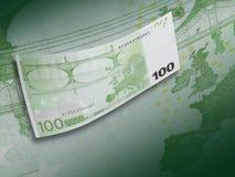 Hundra euroräkningcollage med grön signal Fotografering för Bildbyråer