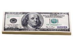Hundra isolerade dollarbills Royaltyfri Foto