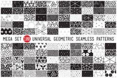 Hundra olika geometriska sömlösa modeller för universal stock illustrationer