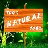 Hundra procent indikerar den naturlig naturen som är äkta och Royaltyfri Bild