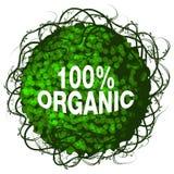Hundra procent organisk buskesymbol Arkivfoto