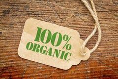 Hundra procent organiskt tecken - en prislapp Royaltyfri Fotografi