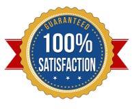 Hundra procent tillfredsställelse garanterat emblem Arkivbilder