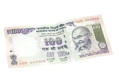 Hundra rupieanmärkning (indisk valuta) Royaltyfria Bilder