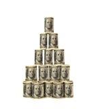 Hundra stapel för pengar för dollarbills Arkivfoton