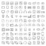 Hundra symboler av elektronik och digitala apparater stock illustrationer