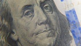 Hundra US dollar närbild lager videofilmer