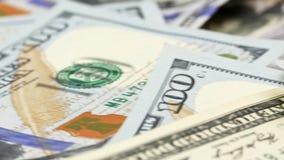 Hundra USA-sedlar kassa hundra dollar, 100 dollar arkivfilmer