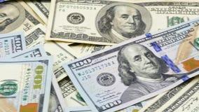 Hundra USA-sedlar kassa hundra dollar, 100 dollar lager videofilmer