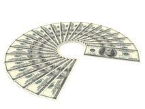 Hundra ventilator för dollarBills på vit bakgrund Fotografering för Bildbyråer
