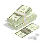 Hundratals dollar Staplad hög av kassa Bunt av US dollar på vit bakgrund Plan isometrisk vektor 3d Royaltyfri Bild