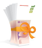 Hundred bills bowed as a gift / Money reward. Hundred bills or Money reward Stock Photo