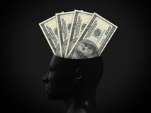 Hundred Bills on Mind. One hundred dollar bills in human head on dark background stock illustration
