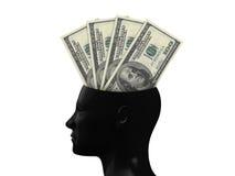 Hundred Bills on Mind. One hundred dollars cash money in human head, isolated on white background stock illustration