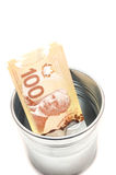 Hundred Canadian dollar bills in a pot Stock Photo