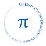 Hundred digits of number Pi forming a circle Royalty Free Stock Photography