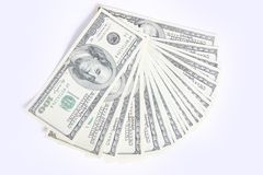Hundred dollar. A Hundred dollar fan isolated with clipping path Stock Photo