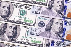 Hundred dollar abstract background new and old bills. Stock Photography
