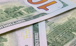 Hundred dollar background. Cash money closeup photo. Currency background Stock Photography