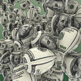 Hundred dollar balloons. 3D render of balloons decorated with hundred dollar bill Royalty Free Stock Photo
