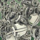 Hundred dollar balloons. 3D render of balloons decorated with hundred dollar bill stock illustration