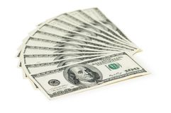 Hundred dollar banknotes. Isolated on the white Stock Images
