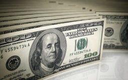 Hundred dollar banknotes. 3d render Hundred dollar banknotes stacks (depth of field Royalty Free Stock Images