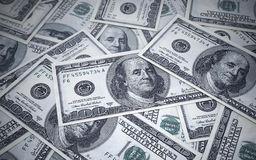 Hundred dollar banknotes depth of field Stock Image