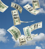 Hundred dollar banknotes falling stock photography