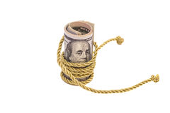 Hundred dollar banknotes with golden rope  Stock Photos