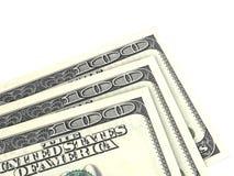 Hundred Dollar Bill. Three hundred dollar bills on white background Stock Photo