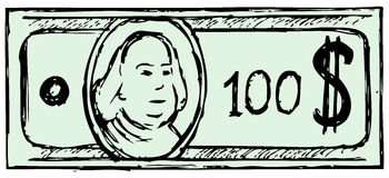 Hundred dollar bill. Doodle style Stock Photos