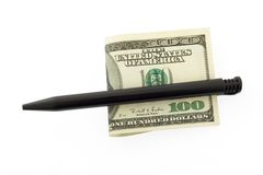Hundred dollar bill. And pen Royalty Free Stock Image