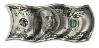 Hundred Dollar Bill. Waving in the wind - clipping path included Royalty Free Stock Images