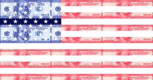 Hundred dollar bill american flag Stock Photos