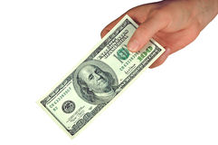 Hundred Dollar Bill  (with clipping path). A hundred dollar bill in hand Stock Images