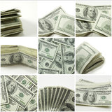 Hundred dollar bill collage. Collage of hundred dollar bills in various stacks and folds on white background Stock Photo