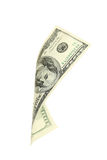Hundred dollar bill falling on white background. Stock Photography
