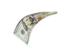 Hundred dollar bill. Falling on white background Stock Photo