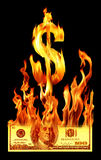 Hundred dollar bill on fire Stock Photos