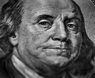 Hundred Dollar Bill Franklin Cash. Closeup of hundred dollar bill money cash isolated on Franklin portrait Stock Images