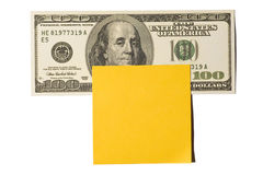Hundred Dollar Bill With Gold Postit Note Stock Image