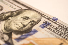 Hundred dollar bill, macro photography Stock Photo