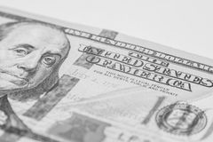 Hundred dollar bill, macro photography Royalty Free Stock Image