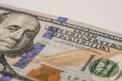 Hundred dollar bill, macro photography Royalty Free Stock Image