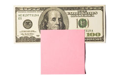 Hundred Dollar Bill With Pink Postit Note Royalty Free Stock Image