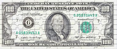 Hundred  dollar bill puzzle Stock Images