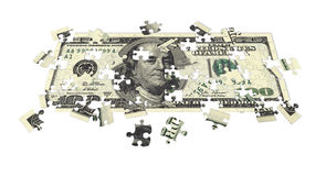 Hundred dollar bill puzzled Royalty Free Stock Photo
